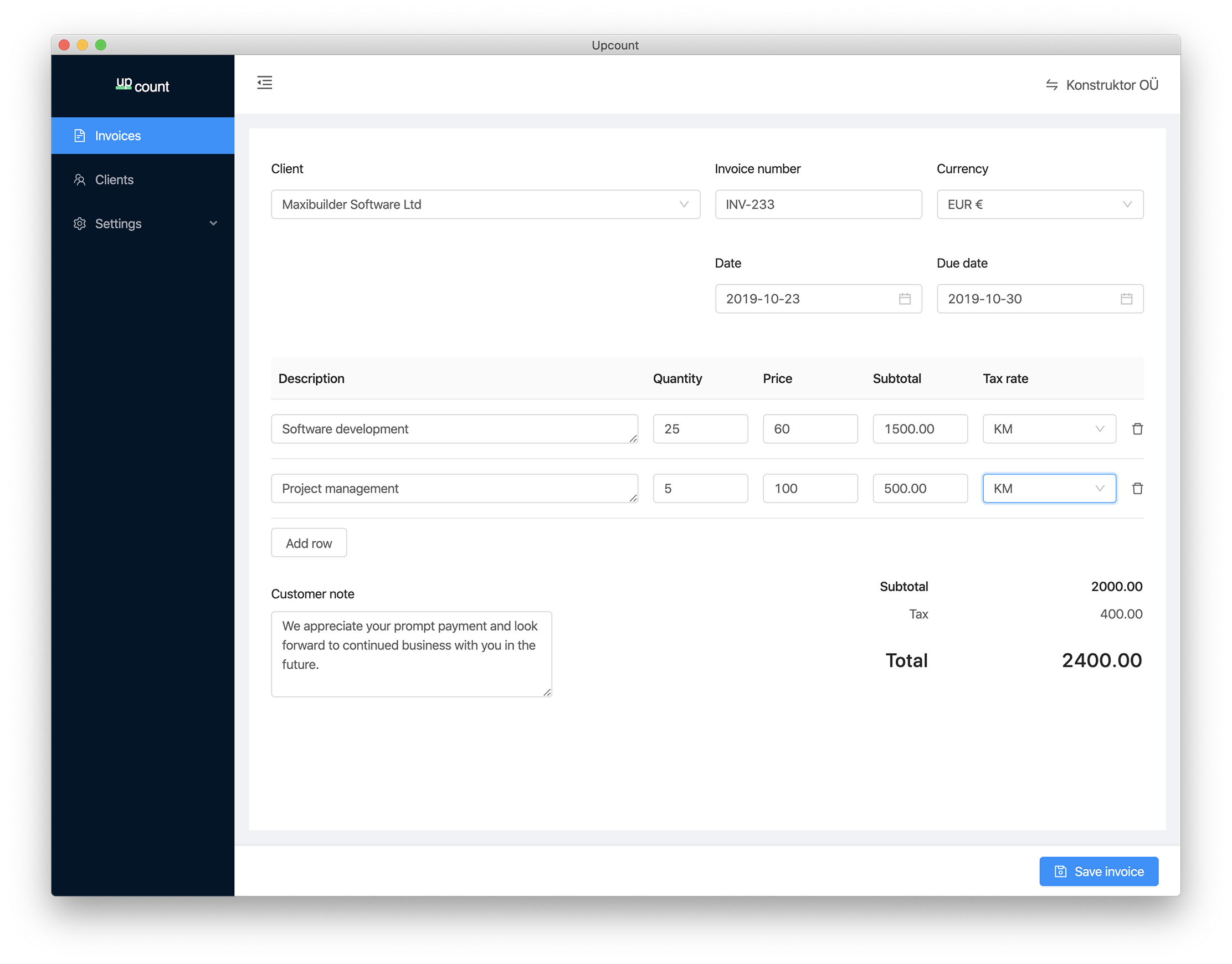 Create invoices easily with a clean user experience